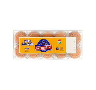 Gyermelyi 10-es műanyag dobozos tojás