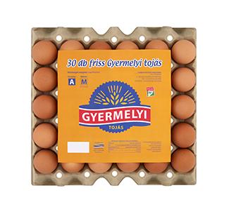 Gyermelyi 30-as papír tálcás tojás