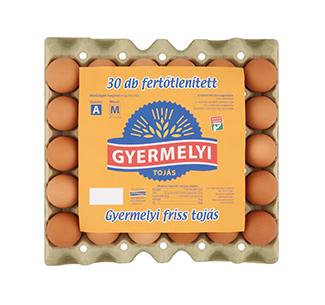 Gyermelyi 30-as fertőtlenített fóliás tojás